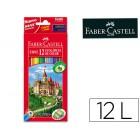 Lapis de cores faber-castell c/ 12 cores hexagonal madeira reflorestada