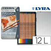 Lapis de cores lyra rembrandt polycolor caixa metalica 12 cores sortidas