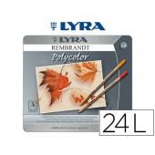 Lapis de cores lyra rembrandt polycolor caixa metalica 24 cores sortidas