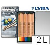 Lapis de cores lyra rembrandt aguarelavel caixa metalica 12 cores sortidas