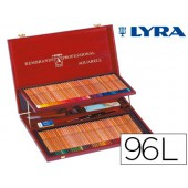 Lapis de cores lyra rembrandt aguarela 96 cores estojo madeira+lapis preto+faca+tabuleiro
