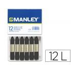 Lapis de cera manley 12 unidades preto