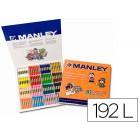 Lapis de cera manley caixa de 192 unidades 16 cores sortidas