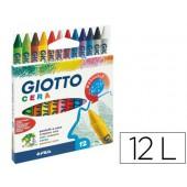 Lapis de cera giotto caixa de 12 cores