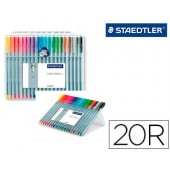 Marcador staedtler triplus fineliner estojo 20 cores sortidas