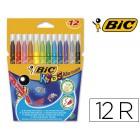 Marcador bic kid estojo de 12 cores tinta base agua ultra lavavel