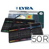 Marcador lyra hi quality art pen caixa metalica 50 cores sortidas