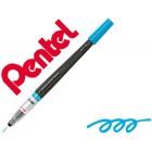 Pincel com tinta a base de agua pentel gfl azul celeste ponta de nylon portatil com tampa recarregavel