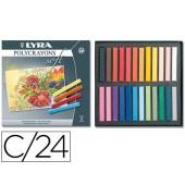 Giz pastel lyra estojo cartao 24 cores
