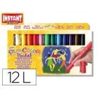 Guache solido em barra instant pocket escolar caixa de 12 cores sortidas