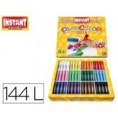 Guache solido em barra instant escolar caixa de 144 unidades 12 cores sortidas