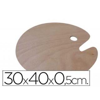 Paleta de madeira artist ovalada tamaèo 30x 40x 0.05 cm