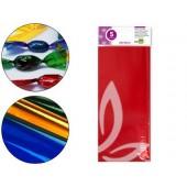 Papel celofane liderpapel 50x70 cm 22g/m2 bolsa de 5 folhas vermelho