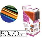 Papel celofane liderpapel 50x70 expositor 56 bolsas de 5 folhas 8 cores sortidas