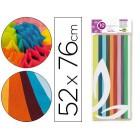 Papel seda liderpapel 52 x 76 cm 18 grs/m2. pack 10 folhas cores sortidas