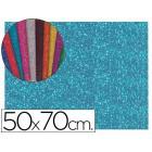 Goma eva com purpurina liderpapel 50x70cm 60g/m2 espessura 2mm azul claro