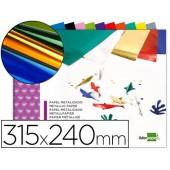 Bloco trabalhos manuais liderpapel papel metalizado 240x315 mm 10 folhas cores sortidas