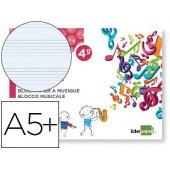 Caderno de musica liderpapel pentagrama 5mm quarto 20 folhas 100g/m2 agrafado