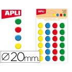 Etiquetas apli redondos 20mm 3d cores sortidas bolsa de 24 unidades