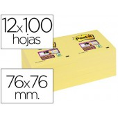 Bloco de notas adesivaspost-it super sticky  76x76 mm  con 12 blocos amarelo canario