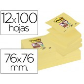 Bloco de notas adesivaspost-it super sticky 76x76 mm  zigzag com 12 blocosamarelo canario