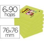 Bloco de notas adesivas post-it super sticky 76x76 mm com 90 folhas 654 verde espargo