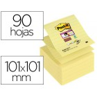 Bloc de notas adesivas post-it super sticky pautado 76x76 mm 90 folhas z-notes amarelo canario