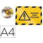 Moldura porta anuncios durable magnetico a4 amarelo/preto pack de 2 unidades