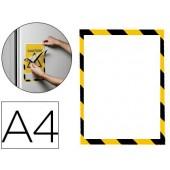 Moldura porta anuncios durable magnetico a4 amarelo/preto pack de 5 unidades