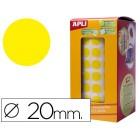 Etiquetas apli auto adesivas circulares 20 mm amarelo em rolo