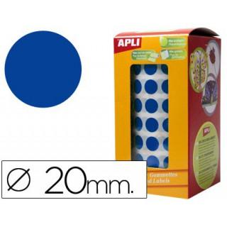 Etiquetas apli auto adesivas circulares 20mm azul em rolo
