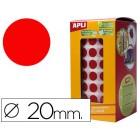 Etiquetas apli auto adesivas circulares 20mm vermelho em rolo