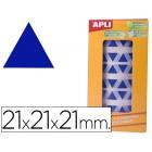 Etiquetas apli auto adesivas triangulares 21x21x21 mm azul em rolo