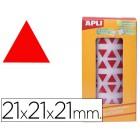 Etiquetas apli auto adesivas triangulares 21x21x21 mm vermelho em rolo