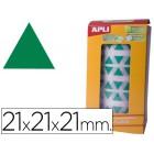 Etiquetas apli auto adesivas triangulares 21x21x21 mm verde em rolo