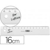 Regua mor 16 cm plastico transparente para esquerdinos