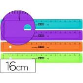 Regua mor 16 cm plastico de cores sortidas graduada e biselada