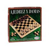 Jogo de mesa falomir xadrez-damas madeira