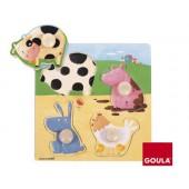 Puzzle goula madeira 4 peças animais da quinta cor