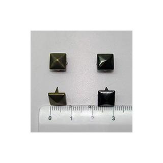 Tacha piramide 8mm prata v./ouro v. (unid.)