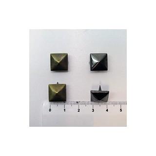 Tacha piramide 12mm prata v./ouro v. (unid.)
