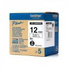 Fita Alta qualidade de 8m/12mm - Branco/Preto (Cx de 5un) - Para utilizar com PT-9500PC/9700PC/9800PCN