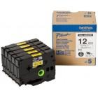 Fita Alta qualidade de 8m/12mm - Amarelo/Preto (Cx. de 5un) - Para utilizar com PT-9500PC/9700PC/9800PCN