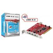 PCI interface card com4x USB 2.0 ports e 1 interna USB 2.0 port