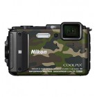 Coolpix AW130 CAMOUFLAGE OUTDOOR (Capa silicone + Suporte bicicl + Fita de Peito) - 16Mp-W5x-3 FULL HD SUMRG GPS WIFI N
