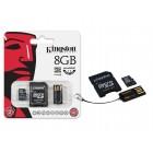 Mobility/Multi Kit 8GB: inclui MicroSDHC/microSD 8GB + Adaptador SD + Adaptador USB
