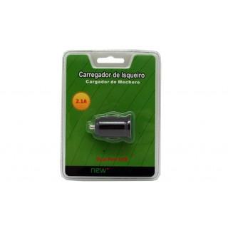 Carregador isqueiro new mobile blister dual usb preto