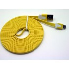 Cabo dados new mobile micro usb flat cable 3m amarelo