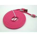 Cabo dados new mobile micro usb flat cable 3m rosa