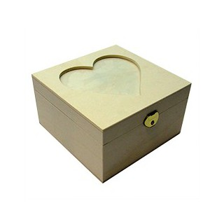 Caixa coração 4 divisoes c/vidro